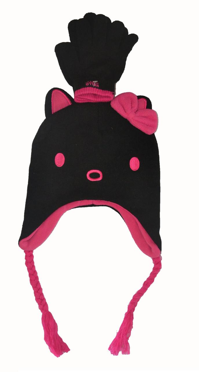 Шапка зимняя с ушками и перчатки для девочки
