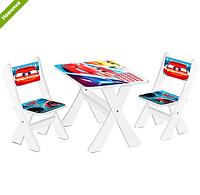 """Столик и два стульчика деревянные """"Тачки"""" М 2100-05***"""