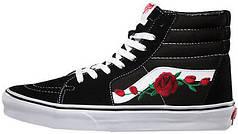 Женские кеды Vans SK-8 Roses Black,  Ванс СК8