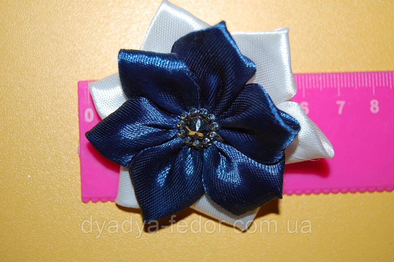 Резинка для волос бантик лотос синий код m015