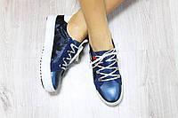 Женские кожаные низкие кроссовки цвет : синий материал: натуральная кожа, кож. подкладка
