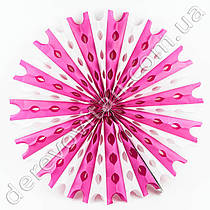 Подвесной веер, бело-розовый, 50 см - бумажный декор-розетка