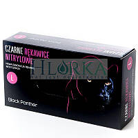 Перчатки нитриловые, текстурированные, неопудренные, Черные (100шт/уп) Black Panther/Doman