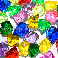 "(25шт) Кристаллы пластик 25х15мм (""Искусственный лед"") Цвет – МИКС"