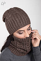 Теплый вязаный женский комплект -  шапка и хомут