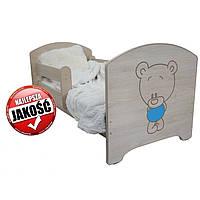 Детская кровать Oskar Гравированный голубой Мишка 140 х 70 Baby Boo 100170