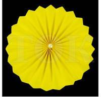 Веер бумажный 20 см желтый с жемчугом