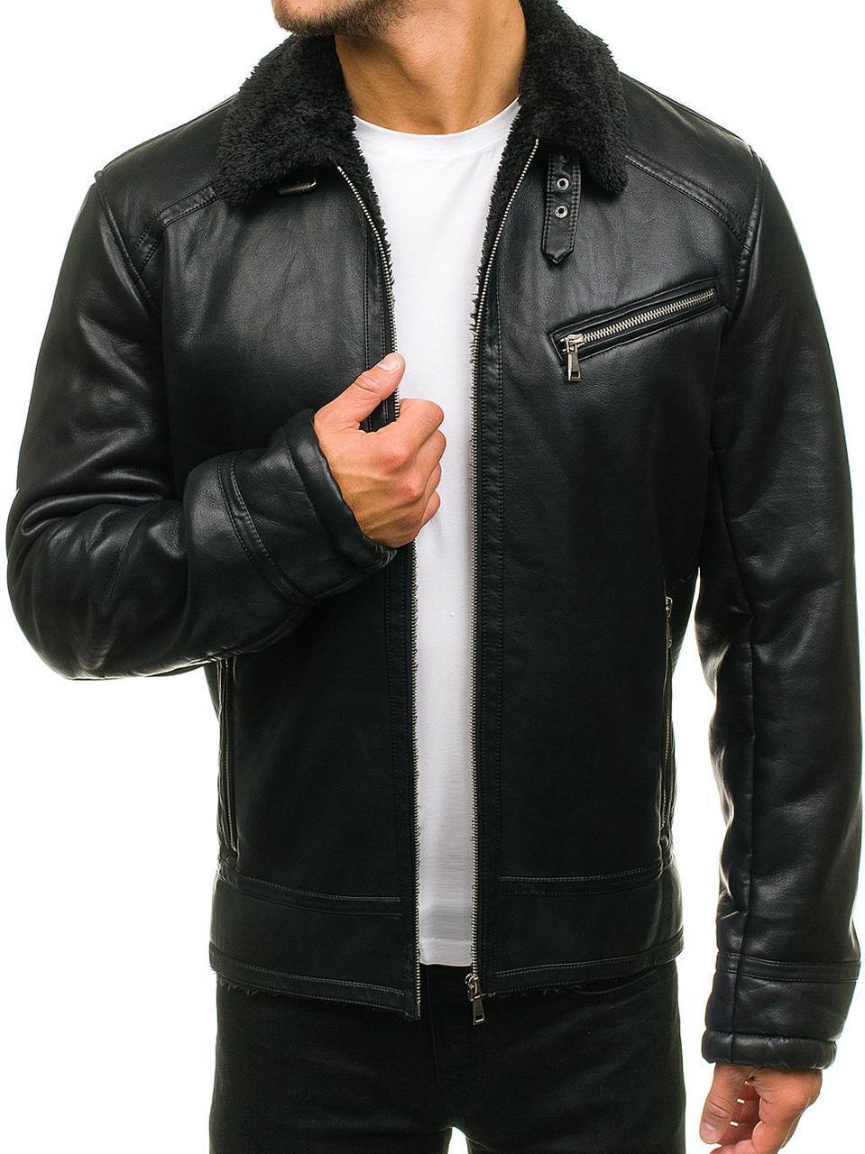 a2d48fda1fc Мужская зимняя черная куртка из эко-кожи -