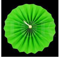 Веер бумажный 20 см зеленый с жемчугом