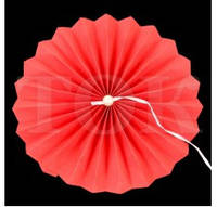 Веер бумажный 30 см красный с жемчугом