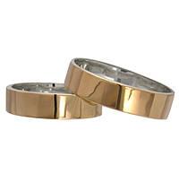 """Серебряные обручальные кольца с золотыми вставками """"Американка"""" 6мм, фото 1"""