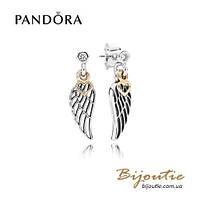 Pandora Серьги-подвески ЛЮБОВЬ И ОПЕКА #290583CZ серебро 925 золото 14к  Пандора оригинал