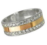 Серебряное кольцо с золотой накладкой , фото 1