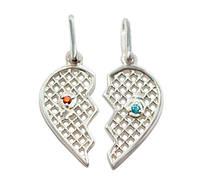"""Парный серебряный кулон """"Половинки"""" в виде сердца, фото 1"""