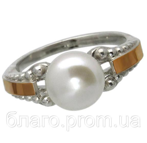 Серебряное кольцо с золотыми накладками и жемчугом