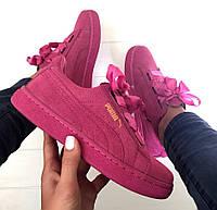 Женские кроссовки Puma Basket Suede Heart Pink, фото 1