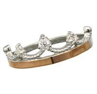 Женское серебряное кольцо с золотыми пластинами Корона