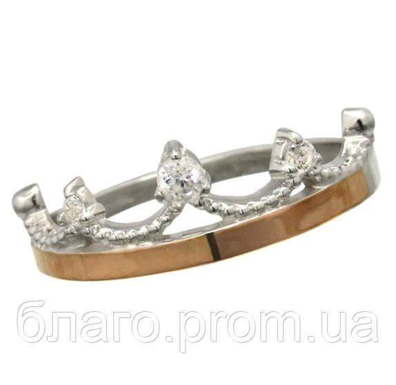Женское серебряное кольцо с золотыми пластинами Корона -