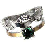 Женское серебряное кольцо с золотыми пластинами , фото 1