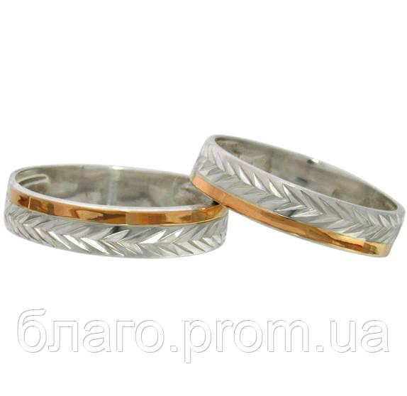 Обручальные кольца серебряные с золотыми вставками