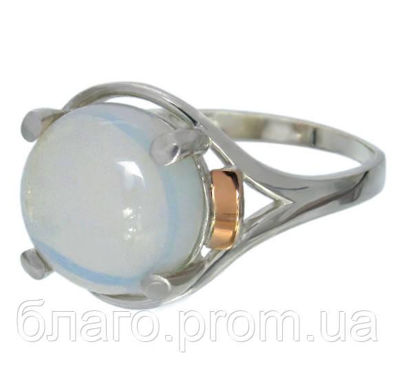 """Женское серебряное кольцо с золотыми пластинами """"Ирис"""" лунный камень"""
