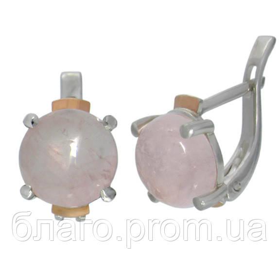 Серебряные серьги с золотыми накладками розовый кварц