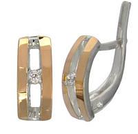 Серебряные серьги с золотыми накладками