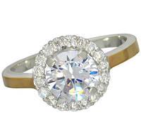 """Женское серебряное кольцо с золотыми пластинами """"Лунный свет"""", фото 1"""