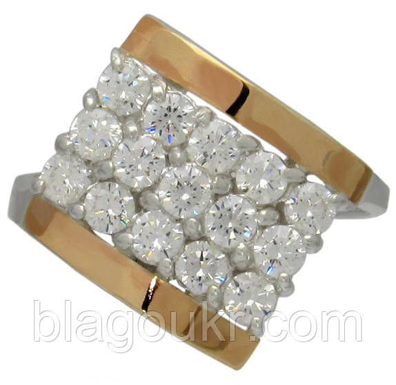 Женское серебряное кольцо с золотыми пластинами   продажа, цена в ... e039cd13fba