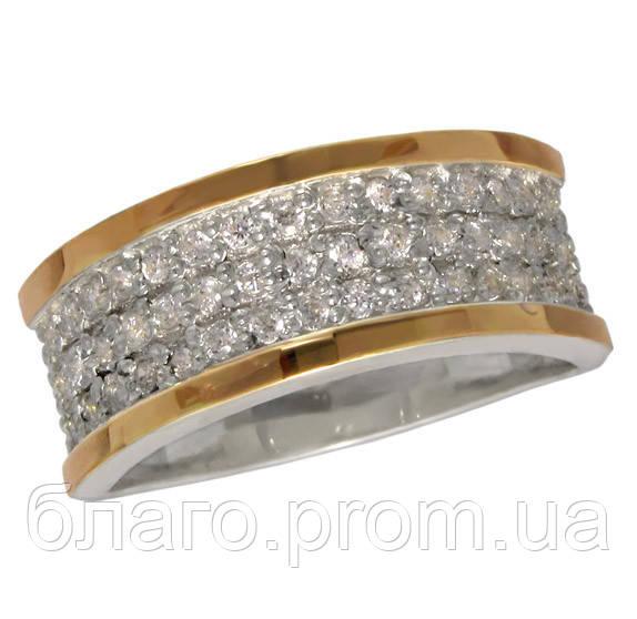 Женское серебряное кольцо с золотой пластиной