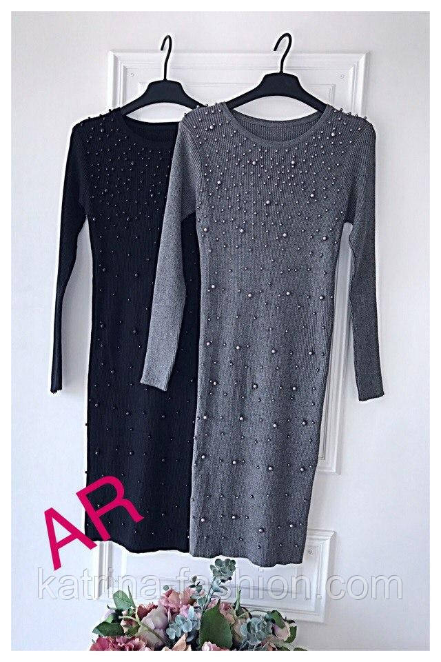 женское платье с жемчугом