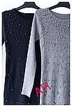 Платье женское до колен в обтяжку с жемчугом, вязка трикотаж, серое и черное, ан-223, фото 3