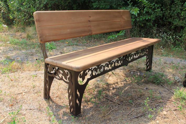 Лавочка садовая декоративная, 150см, цвет черный/коричневый, фото 2