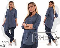 Рубашка удлиненная с застежкой на бок, софт 48, 50, 52, 54