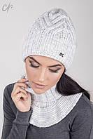 Женская вязанная шапка и хомут