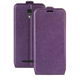 Чехол книжка для ZTE Blade L110 вертикальный флип, Гладкая кожа, фиолетовый
