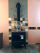 Чугунная печь Invicta Kazan антрацит. Монтаж печи в Одессе от компании Saven (мастер Сергей).