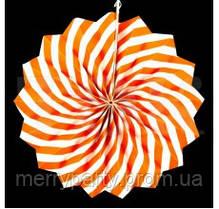 Веер бумажный 30 см с узором оранжевый