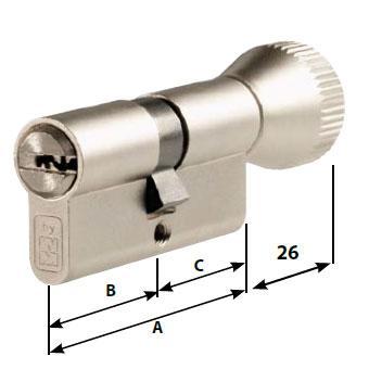 Цилиндр MOTTURA Project DPC1F3641 S3 ключ/тумблер никель