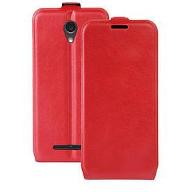 Чехол книжка для ZTE Blade L110 вертикальный флип, Гладкая кожа, красный
