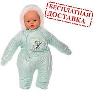 Зимний комбинезон для новорожденных (0-6 месяцев) зеленый в горошек