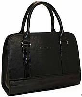 Женская кожаная сумка каркасная черного цвета