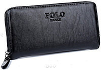 Мужской кожаный кошелек портмоне клатч Polo на молнии