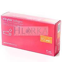 Перчатки нитриловые, текстурированные, неопудренные, Розовые (100шт/уп) Nitrylex PF COLLAGEN