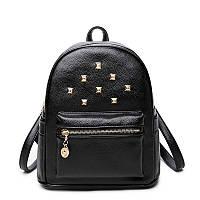 Рюкзак женский стильный с заклепками и карманом JASMIN  (черный)