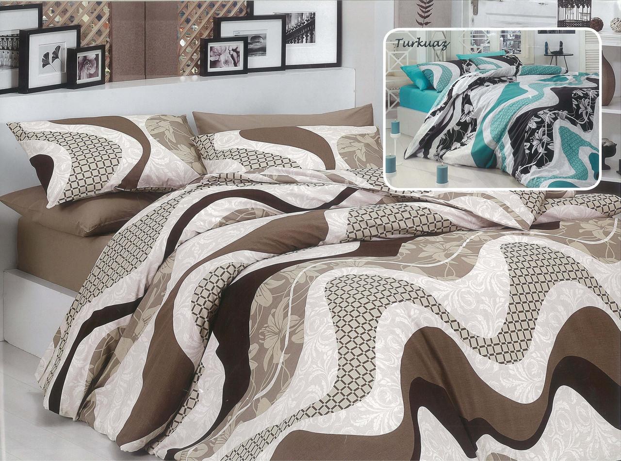 """Полуторный комплект постельного белья 150*220 из бязи Голд """"Волна коричневая"""""""