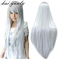 Парик серый длинный.парики блонд.парик пепельный с чёлкой аниме