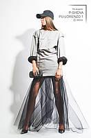 Платье женское, серое,осень-зима P-SHENA