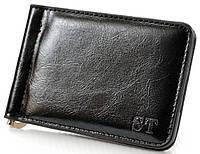 Мужской кожаный зажим для купюр ST на магните c монетницей