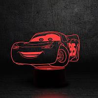 "3D Ночник , Светильник, LED лампа - ""Молния Маквин"""